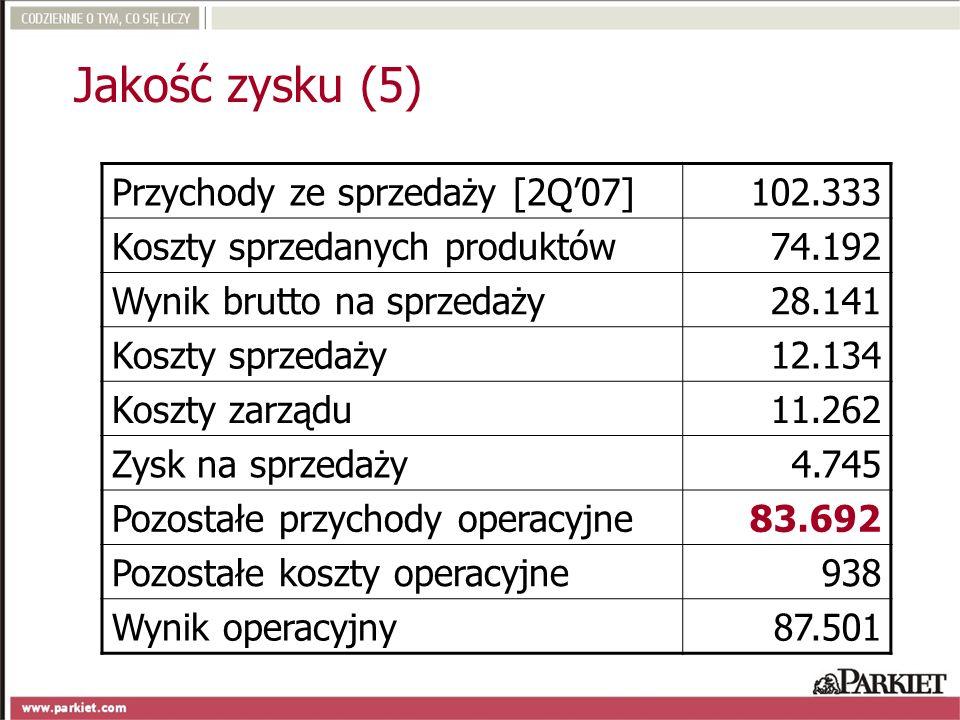 Jakość zysku (5) Przychody ze sprzedaży [2Q'07] 102.333